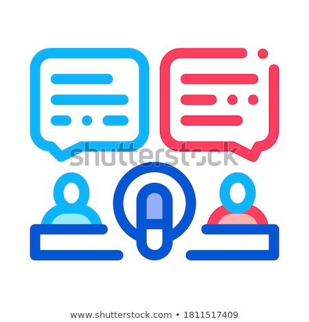 Hosts Talk In Microphone Icon Outline Illustration Stock photo © pikepicture
