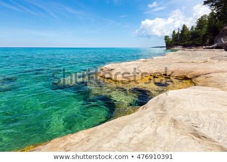 Tó Michigan víztükör kék barna fény Stock fotó © bobkeenan