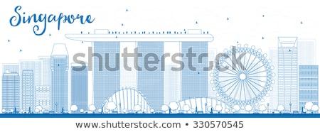 Outline Singapore skyline with blue landmarks. Stock photo © ShustrikS