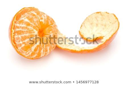 Mandarin hámozott bőr kék étel narancs Stock fotó © dashapetrenko