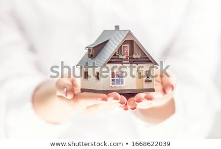 tekening · huis · menselijke · handen · geïsoleerd · witte - stockfoto © vlad_star