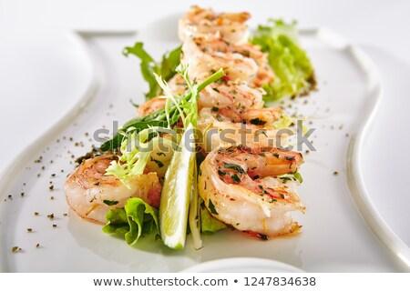 frutti · di · mare · insalata · line · sfondo · pollo · blu - foto d'archivio © ildi