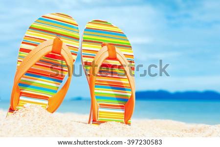Praia sandálias isolado moda sapatos pé Foto stock © OleksandrO
