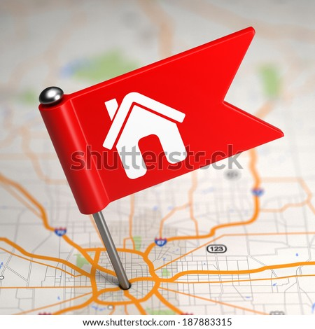 House Sign - Small Flag on a Map Background. Stock photo © tashatuvango