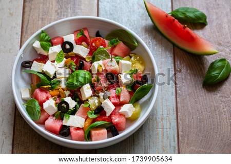 feta, olive and watermelon salad Stock photo © M-studio