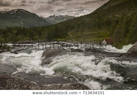 生 滝 ノルウェー 小 家 山 ストックフォト © compuinfoto