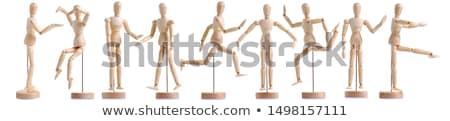 Fából készült apa fia sétál kéz a kézben test apa Stock fotó © njnightsky