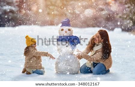 sneeuwpop · paar · illustratie · familie · sneeuw · winter - stockfoto © is2