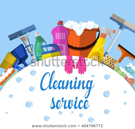 Equipment Cleaning service concept. Poster template for house cleaning services with various tools.  Stock photo © makyzz