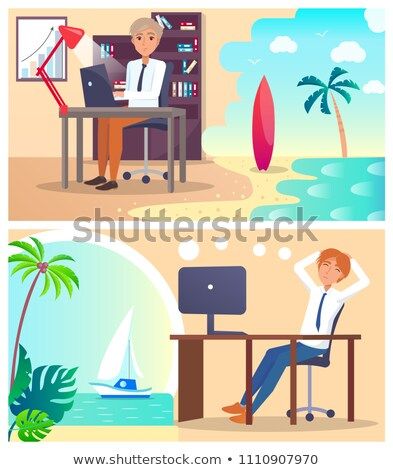 Office Workers Daydream about Vacation Abroad Set Stock photo © robuart