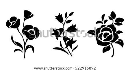 シルエット 花 カラフル フローラル スペース 文字 ストックフォト © odina222