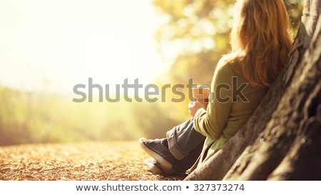people in autumn park sunny day of fall season stock photo © robuart