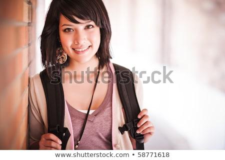 女性 · 立って · 屋外 · 幸せ · 森林 - ストックフォト © deandrobot