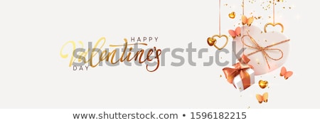 Pink romantic card with gift boxes Vector realistic. Celebrate love card. 3d detailed illustrations stock photo © frimufilms