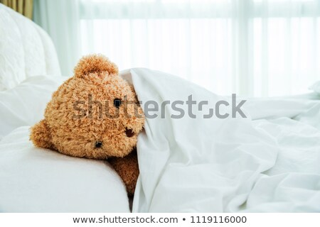 A Child lying in bed with a plush teddy bear Stock photo © Lopolo