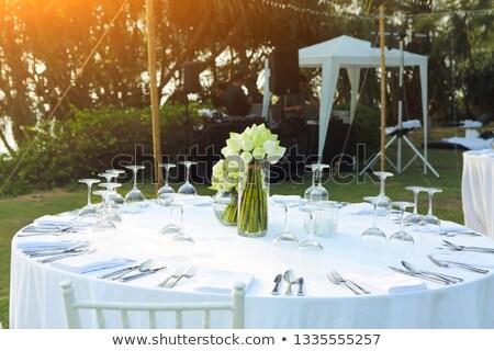 Stockfoto: Bruiloft · tabel · ingesteld · witte · lotus · buitenshuis