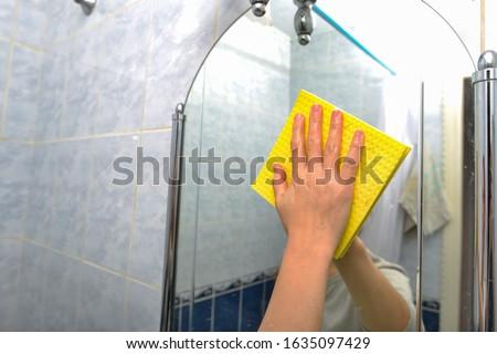 yellow clothing girl_housekeeping Stock photo © toyotoyo