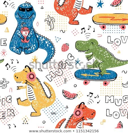Cartoon hand drawn doodles Music seamless pattern Stock photo © balabolka
