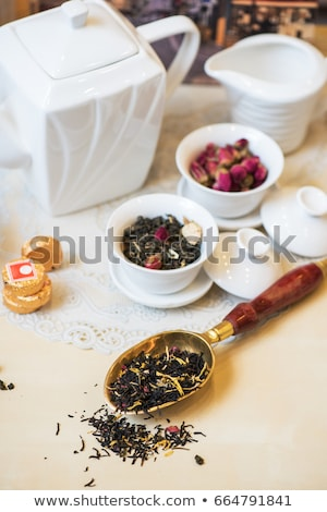Herbaty zestaw tabeli żywności liści pić Zdjęcia stock © olira