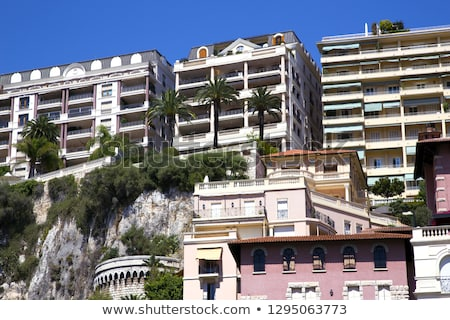 Architectural detail of a luxury modern house on the Mediterranean coast, summer holiday and real es Stock photo © Anneleven