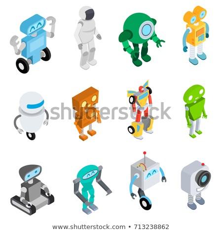 Programozás robot izometrikus ikon vektor felirat Stock fotó © pikepicture