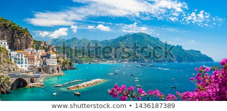 beautiful landscape panorama with mountain and mediterranean sea stock photo © juniart