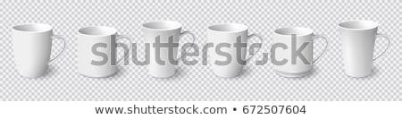 синий · керамической · Кубок · блюдце · изолированный · белый - Сток-фото © shutswis