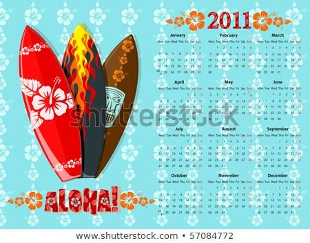 Vector Aloha Calendar 2011 avec des planches de surf Photo stock © Elisanth
