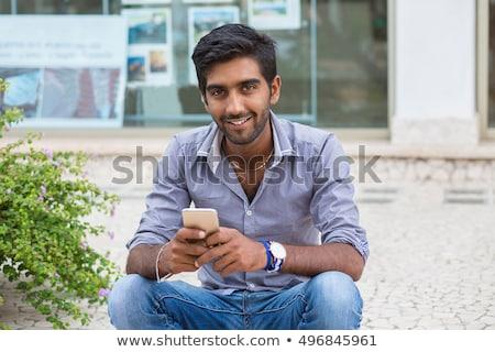 Stock fotó: Közelkép · jóképű · indiai · fiatalember · portré · másfelé · néz