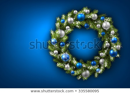 Niebieski srebrny christmas wieniec odizolowany kwiaty Zdjęcia stock © TeamC