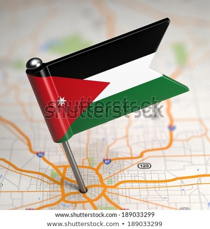 Jordanië klein vlag kaart selectieve aandacht achtergrond Stockfoto © tashatuvango