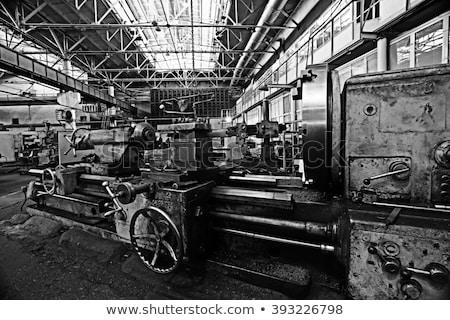 Velho fábrica edifício reflexões lago metal Foto stock © lukchai