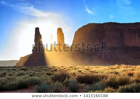 famous sandstone rocks called three sisters butte in monument va stock photo © meinzahn