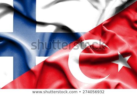Turcja Finlandia flagi puzzle odizolowany biały Zdjęcia stock © Istanbul2009