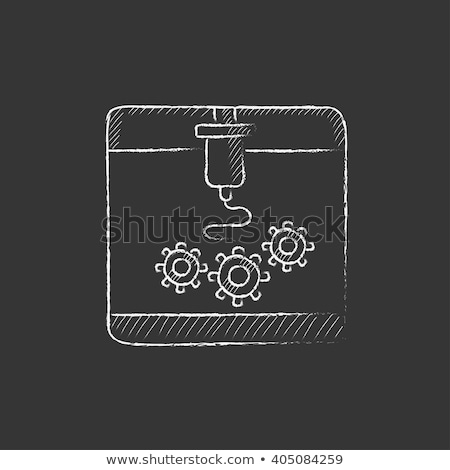 três · impressão · máquina · giz - foto stock © rastudio