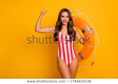young lady in striped retro suit isolated on white stock photo © elnur