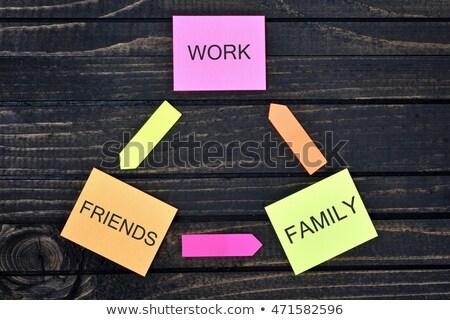 Munka család barátok jegyzetek fa asztal papír Stock fotó © fuzzbones0