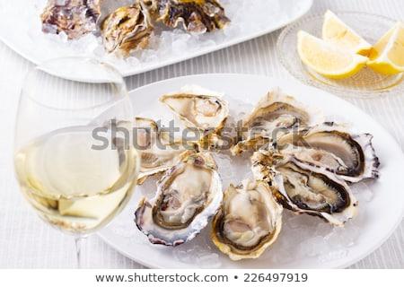 świeże szkła wina surowy ostryga Zdjęcia stock © artjazz