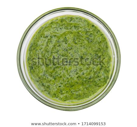 Fresche pesto salsa bianco legno vassoio Foto d'archivio © zhekos