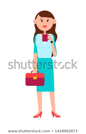 Grown-up Girl with Briefcase and Cup of Coffee Stock photo © robuart