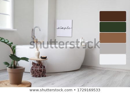 stylish bathroom in modern style with different walls stock photo © bezikus