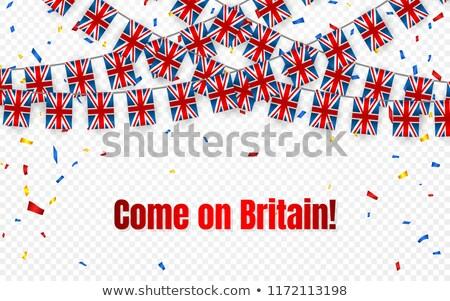 Inglaterra grinalda bandeira confete transparente celebração Foto stock © olehsvetiukha