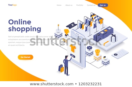 flat isometric vector landing page template of easy shopping e commerce stock photo © tarikvision