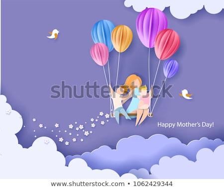family mom child with balloon vector illustration stock photo © robuart