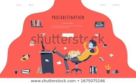 Procrastinação aterrissagem página empresário sessão pernas Foto stock © RAStudio