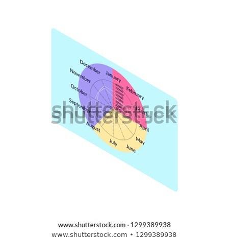 Naptár tizenkettő hónapok átló vektor évkönyv Stock fotó © robuart