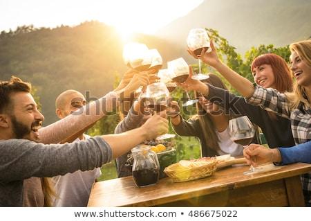 молодые люди наслаждаться обеда дегустация вин виноградник закат Сток-фото © boggy