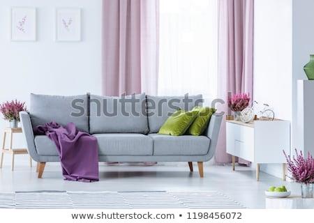 Mor kanepe iç oda lamba aile Stok fotoğraf © Ciklamen