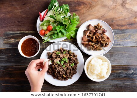 cooked sticky rice, asian food backgrounds Stock photo © mtkang