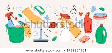 Trabalhos domésticos mulher jovem isolado branco trabalhar Foto stock © Lighthunter